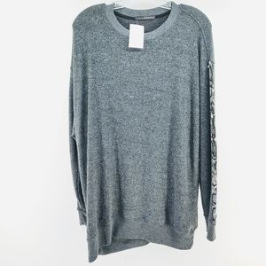 Wildfox Long Sleeve Top with Reptile Print Sleeves